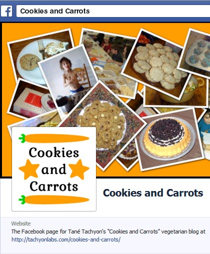 The Facebook page for my 'Cookies and Carrots' vegetarian blog