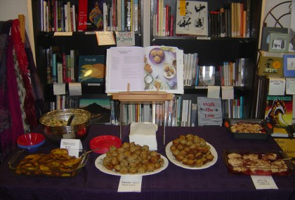Bookshop Santa Cruz staff members had prepared some food from Isa's new 'Isa Does It' cookbook for the audience to eat