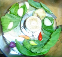 garlic and ginger and peppers and basil in the Cuisinart, about to be ground up for dan-dan noodles