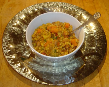 A pasta dish made by adding Israeli couscous to lentil-vegetable soup