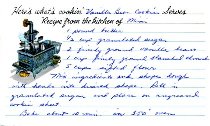 my grandmother Mimi's recipe card for vanilla bean cookies