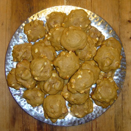 A platter of pumpkin cookies with white-chocolate chips
