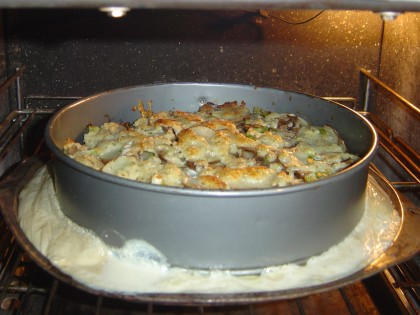 Gratin Dauphinois (scalloped potatoes) from Julia Child's 'Mastering the Art of French Cooking', having a bit of a mishap in the oven