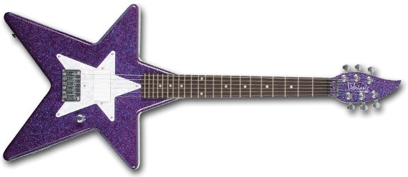a picture of the Daisy Rock Debutante Star guitar in 'Cosmic Purple'
