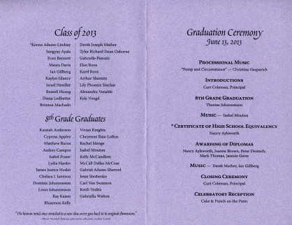 the inside of the 2013 Alternative Family Education (AFE) graduation program