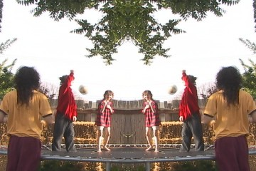 Sam, Chris, and Arthur in the 'mirror mirror' sequence of the 'Lords of the Trampoline' music video