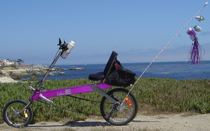 (A photo of my BikeE recumbent bike on the West Cliff multi-use path in Santa Cruz, California)
