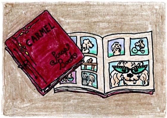 my drawing of Carmel's scrapbook, from my 'My Dog Carmel' book