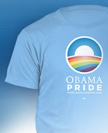 the official Obama 2008 campaign 'Obama Pride' T-shirt - see http://store.barackobama.com/collections/lgbt-for-obama.html for 2012 ones