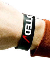 an 'I Voted' wristband from Rock the Vote