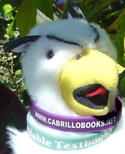 a Cabrillo College Bookstore wristband and an Affordable Textbooks wristband being modeled by my Reed College griffin