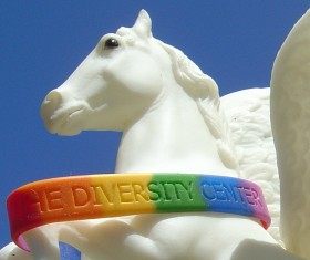 Pegasus wearing a Santa Cruz 'Diversity Center' wristband