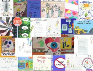 a collage of student artwork for No Name-Calling Week