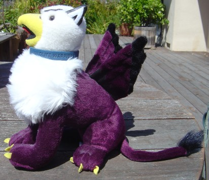 A larger picture of my stuffed Reed College griffin mascot wearing a 'Wildlife Warriors' wristband as a collar