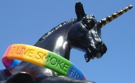 a baby unicorn showing off the 'I Live Smoke Free' side of the Santa Cruz Diversity Center wristband