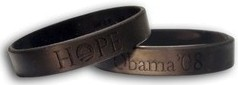 Black 'Hope' wristbands from President Obama's 2008 campaign