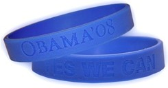 Blue 'Yes We Can' wristbands from President Obama's 2008 campaign
