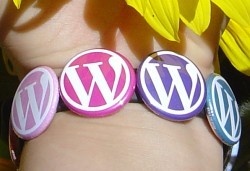 A bracelet I made using one-inch WordPress buttons and a silicone/rubber wristband